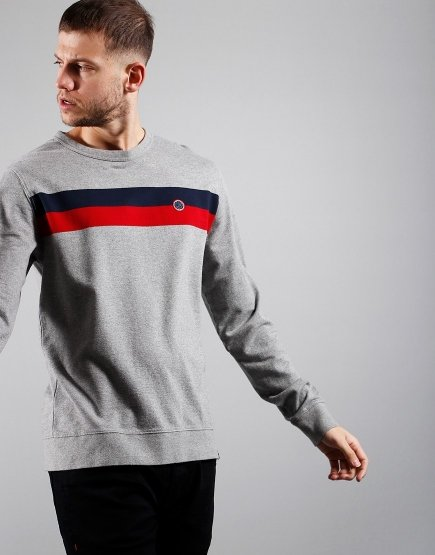 Pretty Green Tilby Sweat Grey Marl