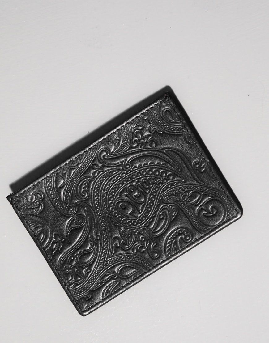 Pretty Green Paisley Embossed Leather Card Wallet Black