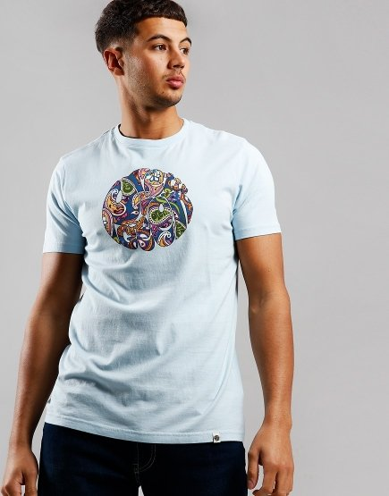 Pretty Green Paisley Logo T-Shirt Blue