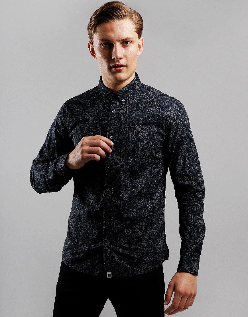 Pretty Green Long Sleeve Paisley Shirt Black