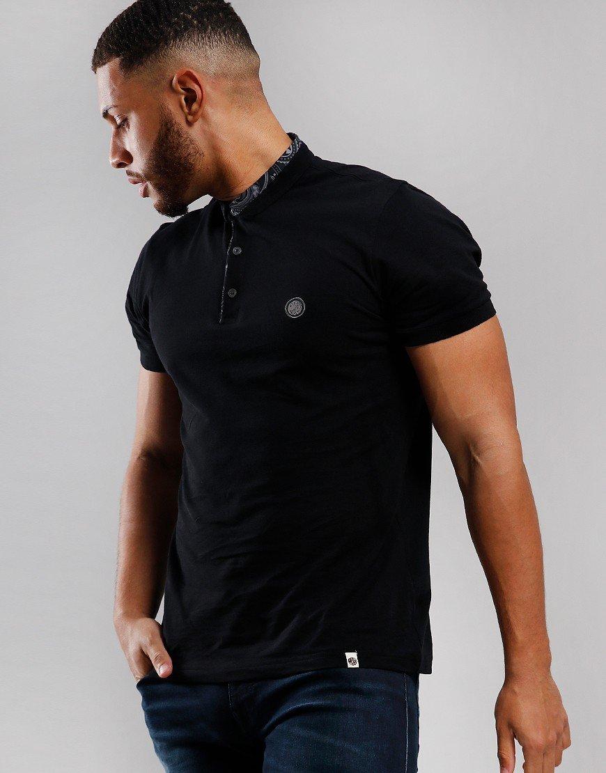 Pretty Green Paisley Collar Polo Shirt Black