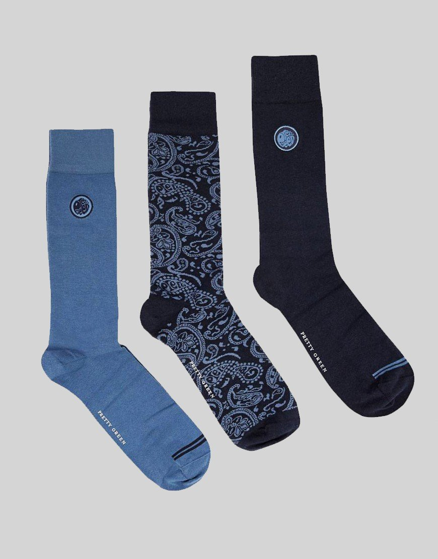 Pretty Green 3 Pack Paisley Sock Gift Set Navy