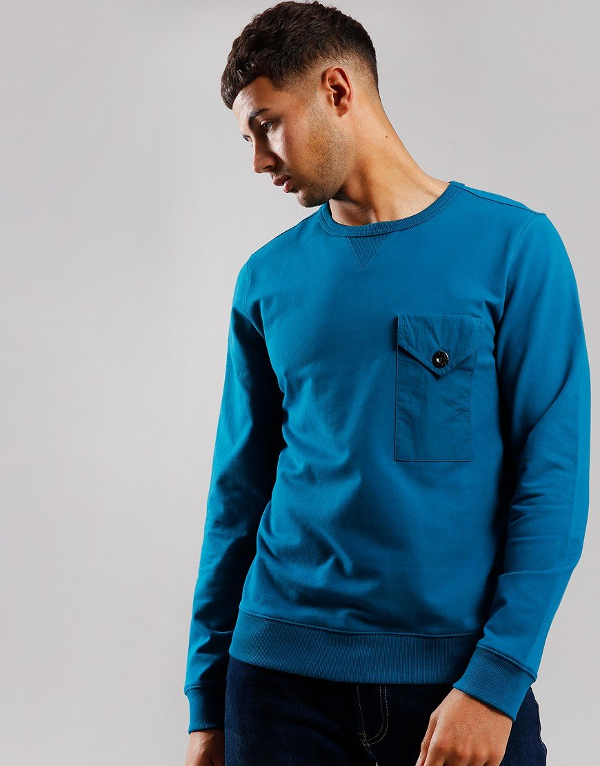 Pretty Green Pocket Crew Neck Sweat Blue