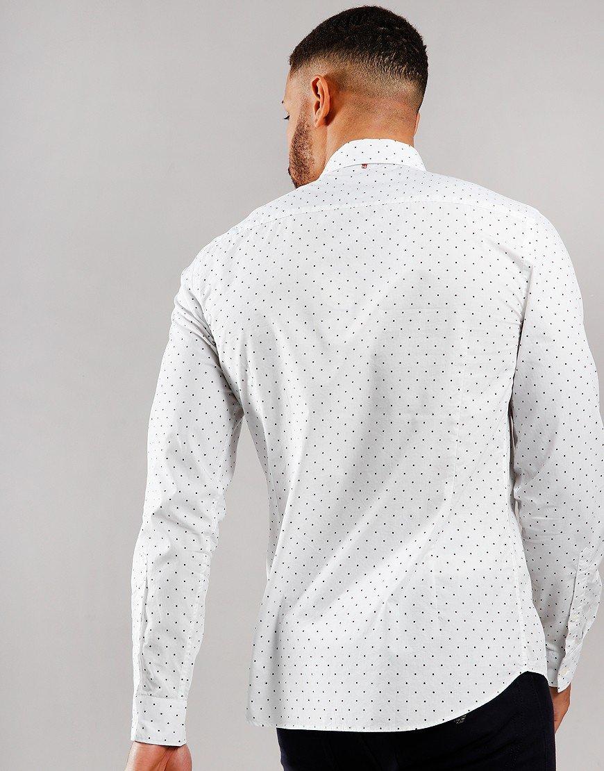 Pretty Green Long Sleeve Polka Dot Shirt White