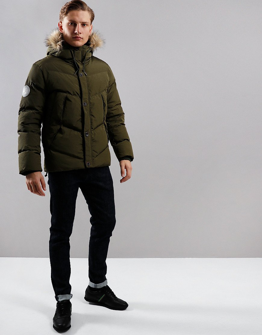 Pretty Green Quilted Down Jacket Khaki
