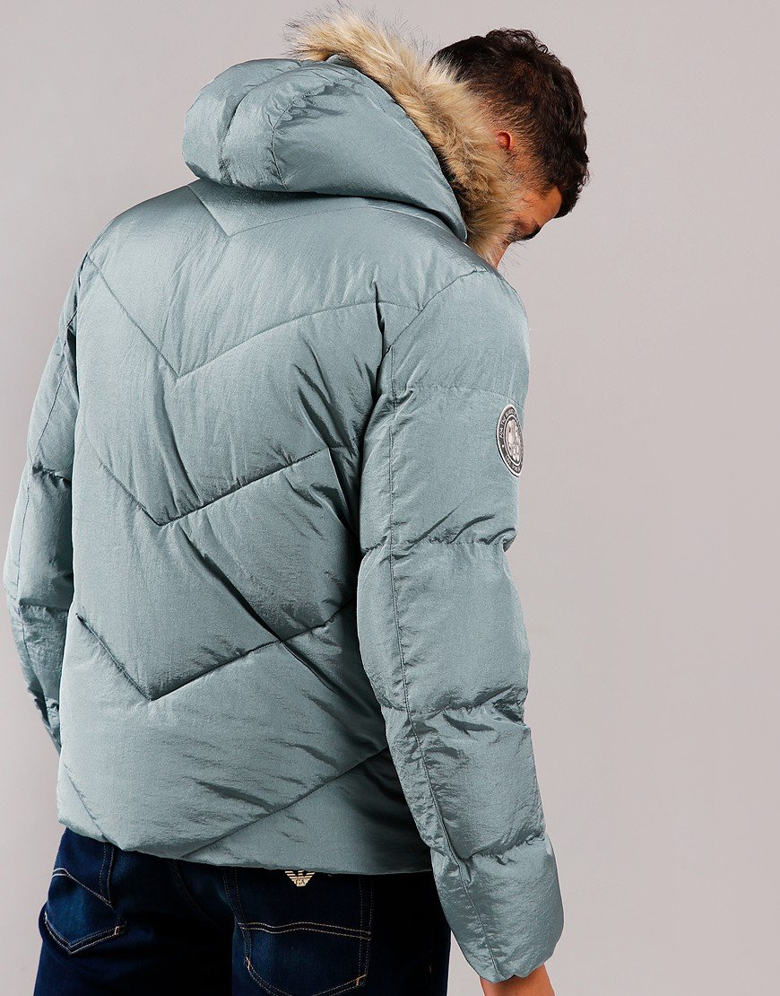 Pretty Green Quilted Down Jacket Blue