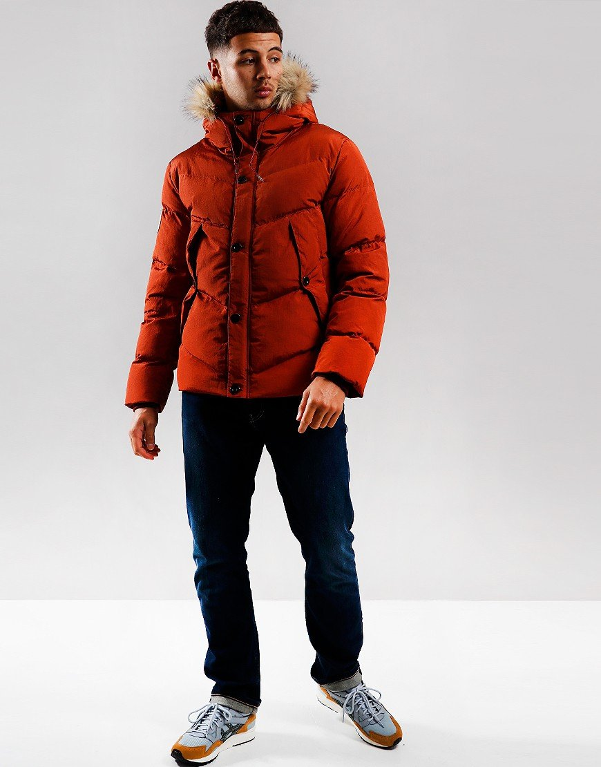 Pretty Green Quilted Down Jacket Orange