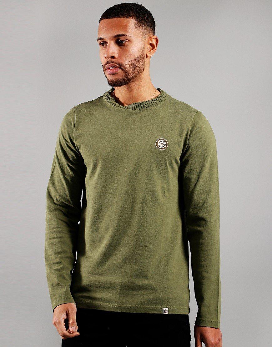 Pretty Green Ribbed Neck Long Sleeve T-Shirt Khaki