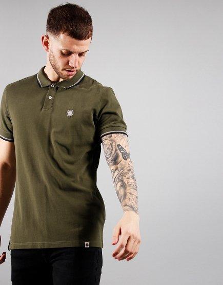 Pretty Green Short Sleeved Barton Polo Shirt Dark Khaki