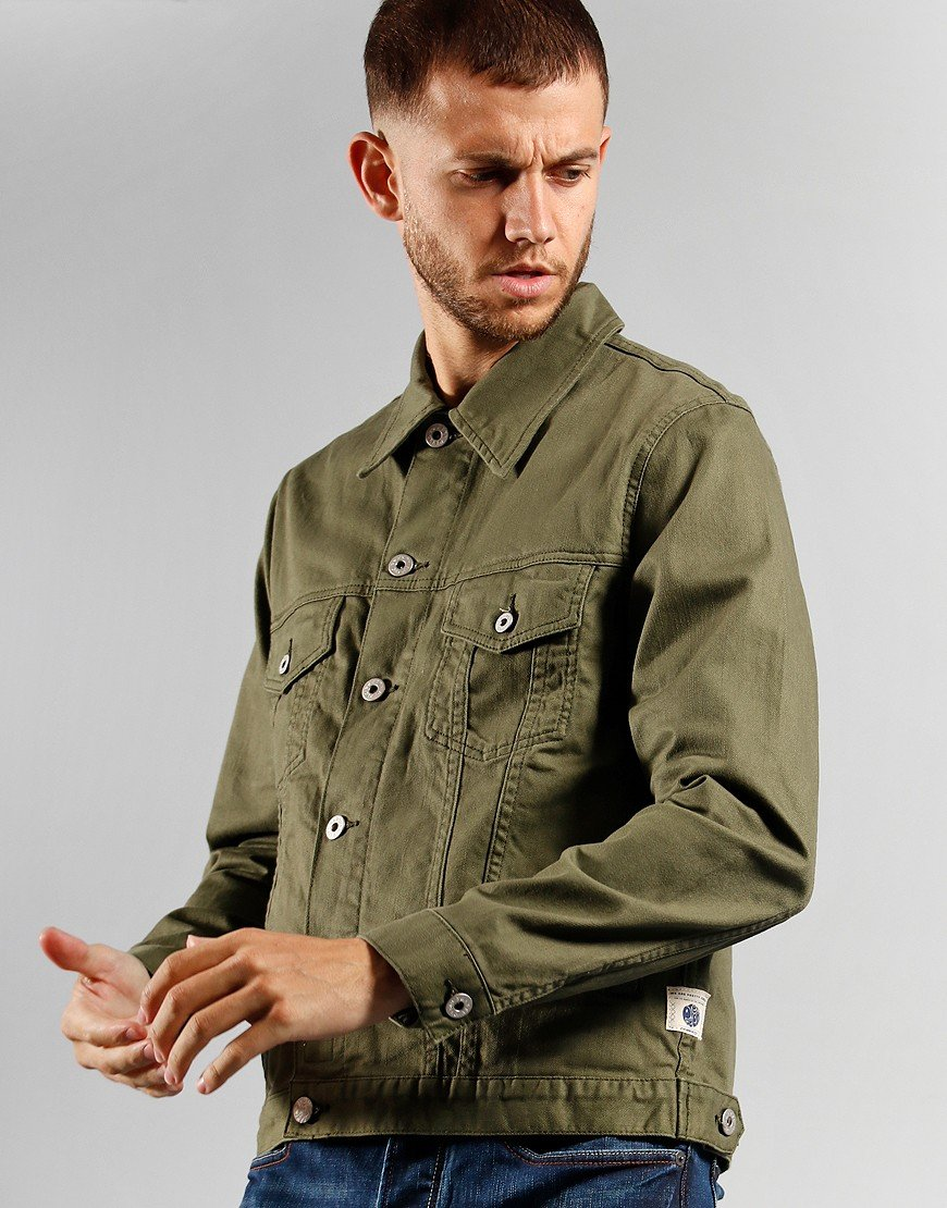 Pretty Green Trucker Denim Jacket Khaki