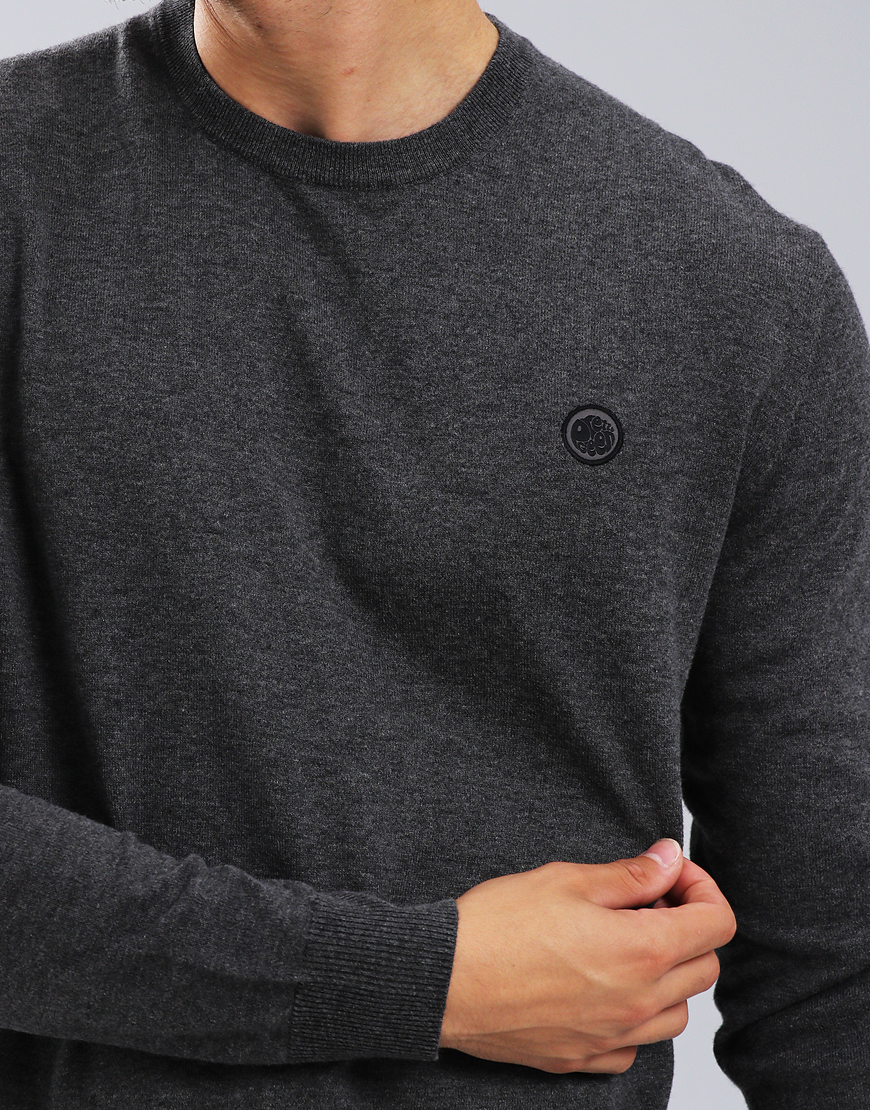 Pretty Green Hinchcliffe Crew Knit Dark Grey Marl