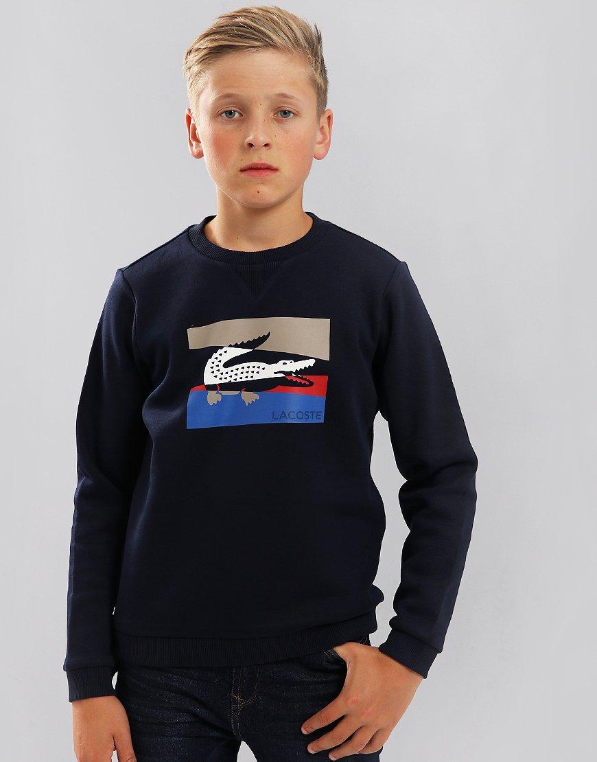 Lacoste Kids Colourblock Lettering Fleece Sweat Navy