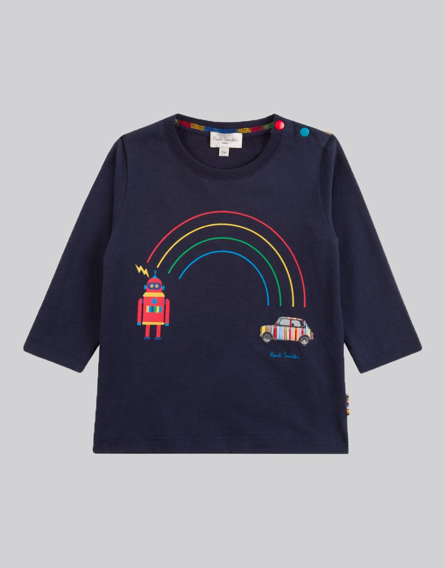 Paul Smith Junior Long Sleeve Santo T-Shirt Navy