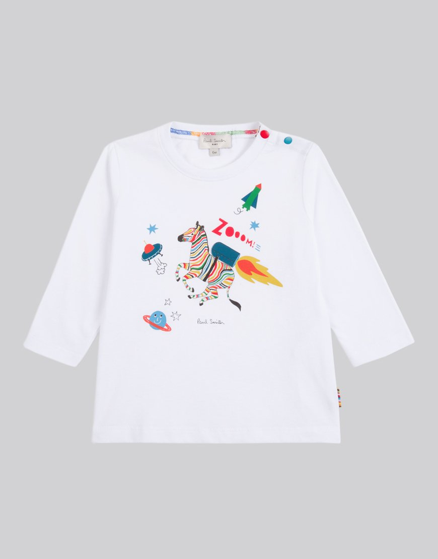 Paul Smith Junior Long Sleeve Seb T-Shirt White