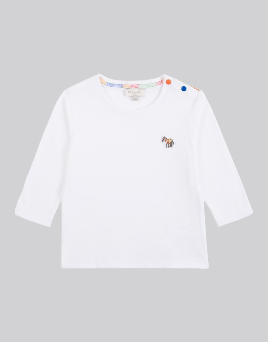 Paul Smith Junior Long Sleeve Sebi T-Shirt White