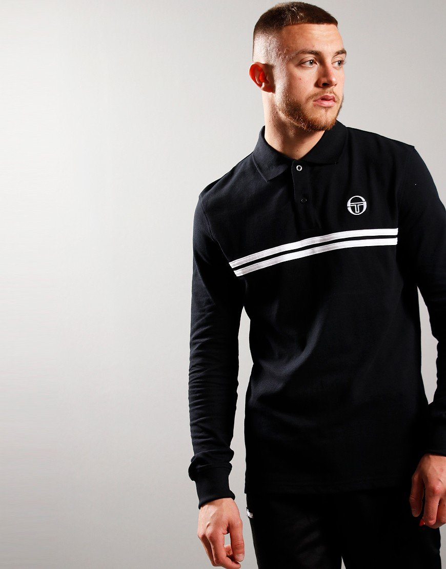 Sergio Tacchini Dean Long Sleeve Polo Shirt Black/White