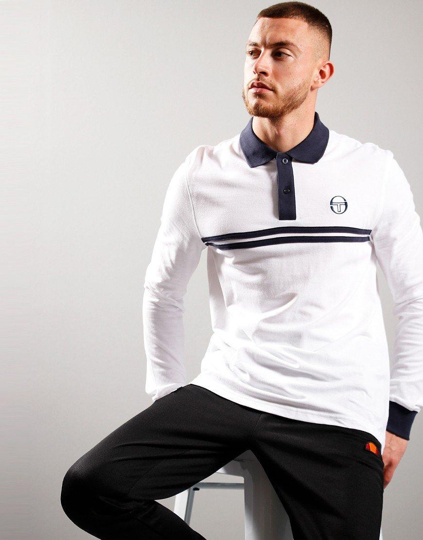 Sergio Tacchini Dean Long Sleeve Polo White/Navy