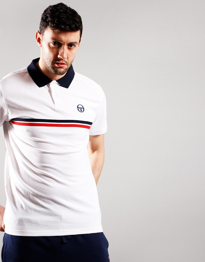 Sergio Tacchini Supermac Polo Shirt White/Navy/Red