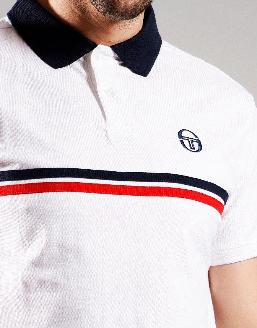Sergio Tacchini Supermac Polo Shirt White/Navy/Red