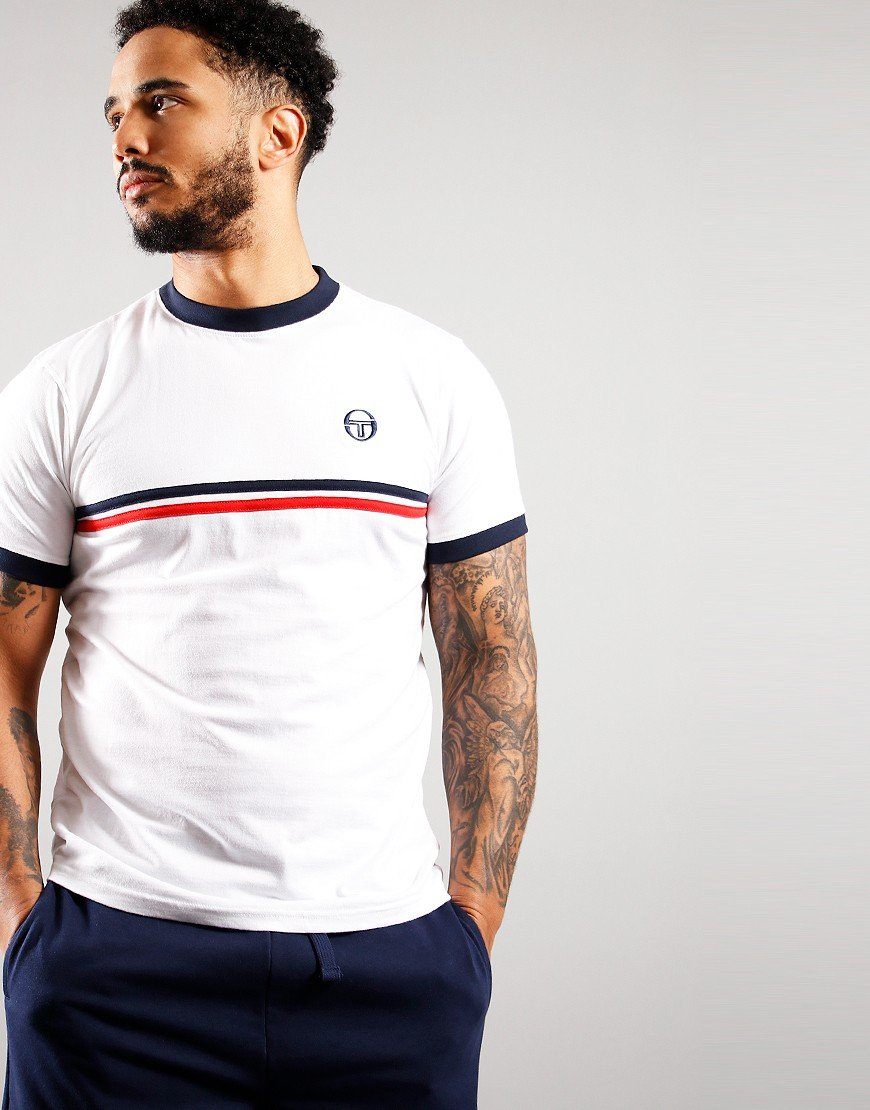 Sergio Tacchini Supermac T-Shirt White/Navy/Red