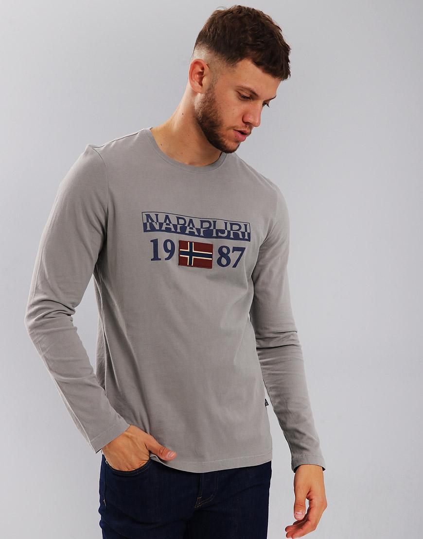 Napapijri Solin Long Sleeve T-Shirt Medium Grey Solid