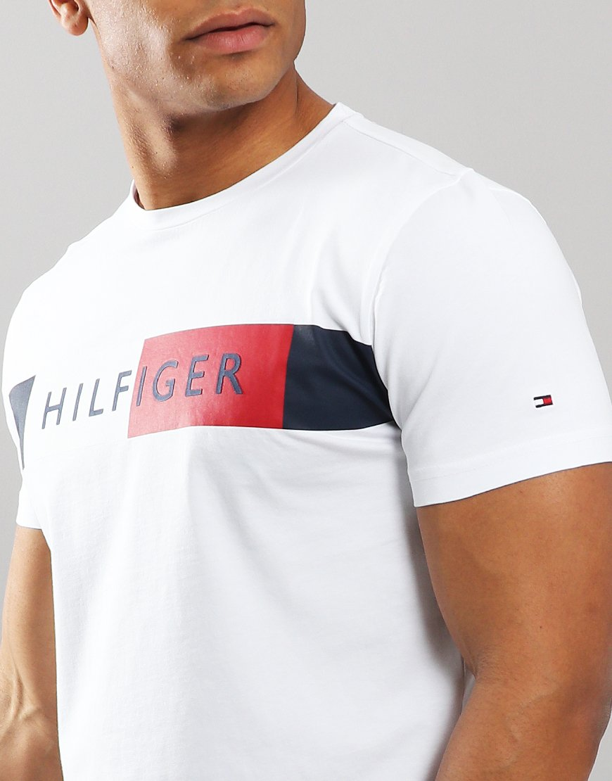 726e2b7be Tommy Hilfger Stripe Hilfiger T-shirt Bright White - Terraces Menswear