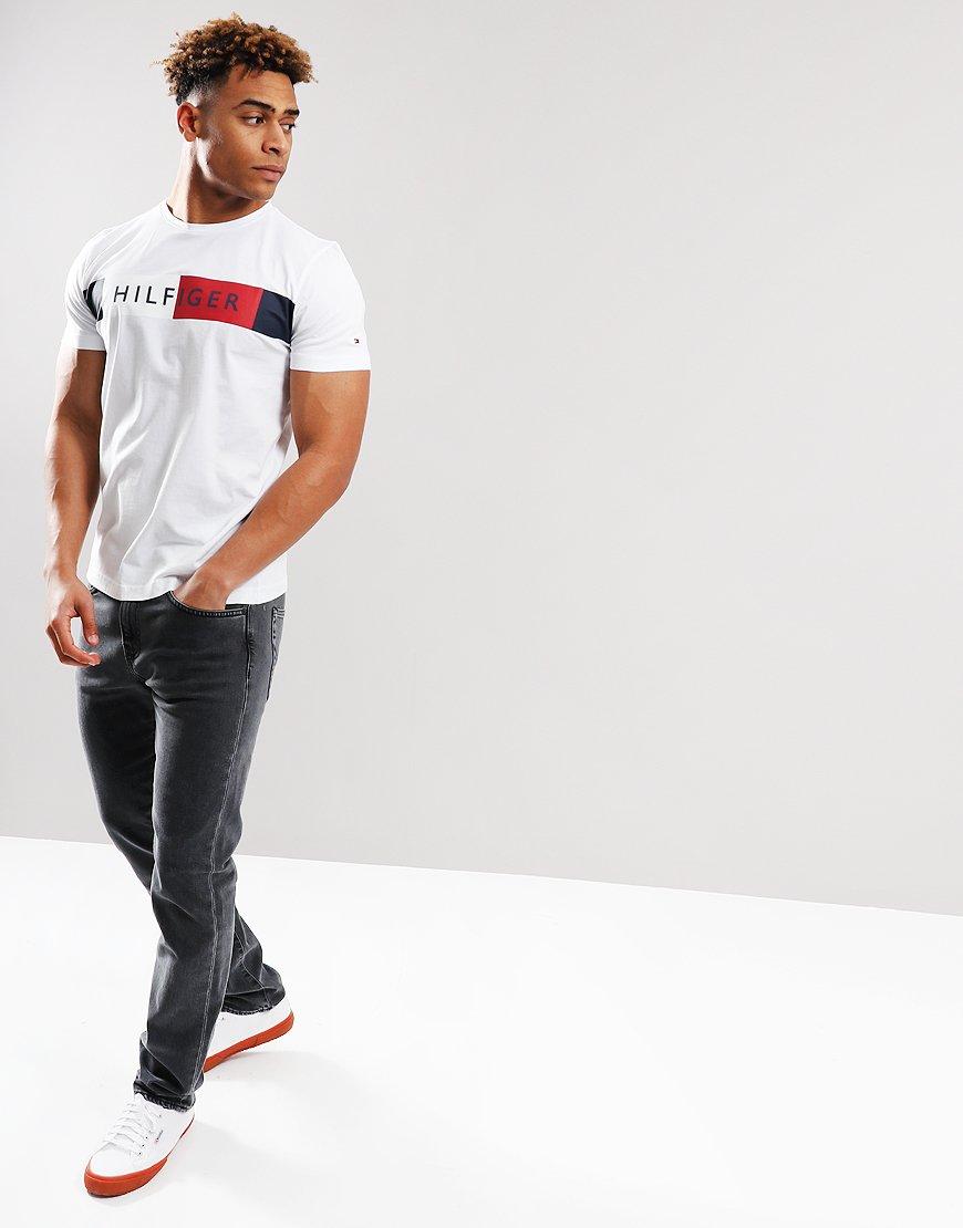 b6fb91db Tommy Hilfger Stripe Hilfiger T-shirt Bright White - Terraces Menswear