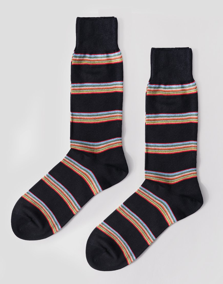 Paul Smith Multistripe Block Socks Navy