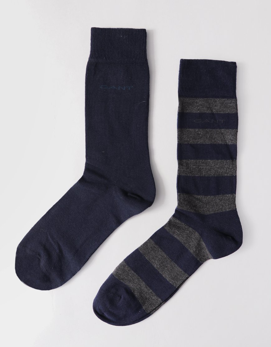 Gant Double Pack Socks Stripe/Solid Charcoal