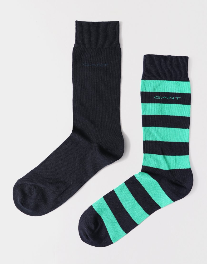 Gant Double Pack Socks Stripe/Solid Oak