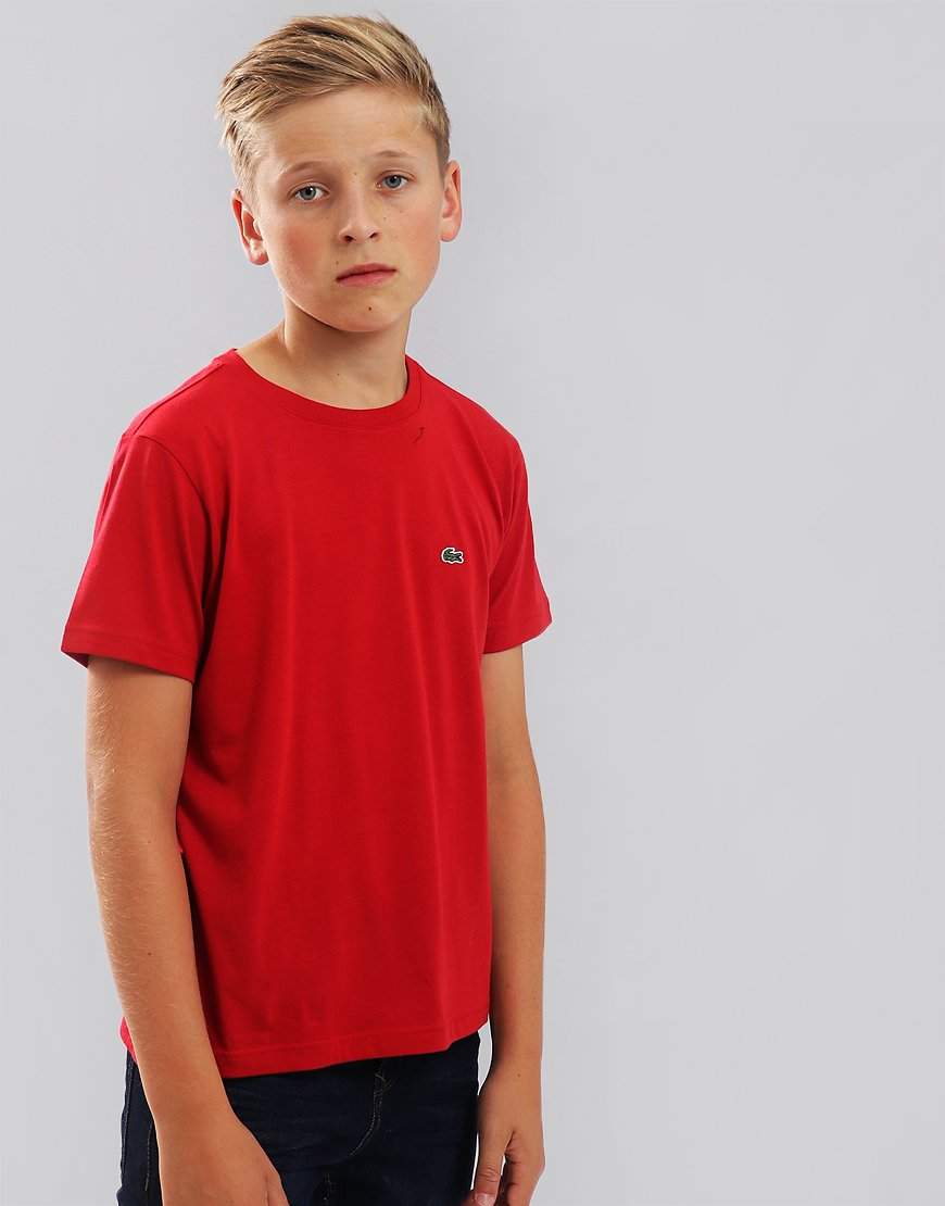 Lacoste Kids Crew Neck T-Shirt With Chest Lighthouse Red