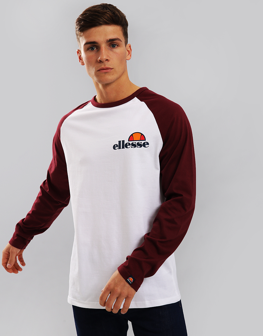 Ellesse Thero Long Sleeve T-Shirt White/Zinfandel