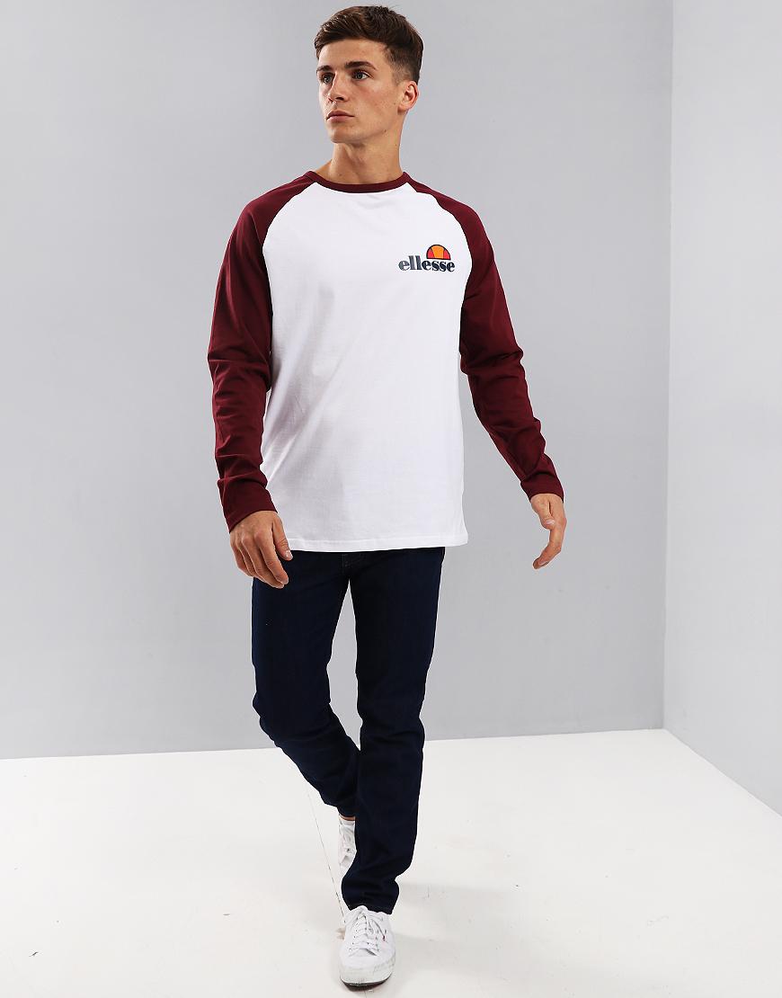 Ellesse Thero Long Sleeve T-Shirt White/Zinfandel