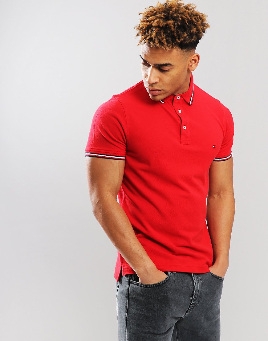 Tommy Hilfiger Tipped Polo Shirt Red