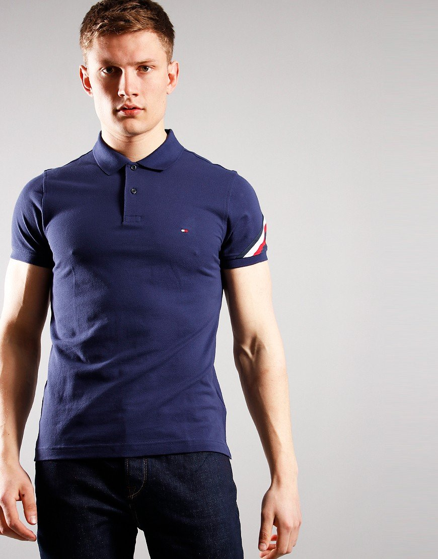 Tommy Hilfiger Global Stripe Tape Polo Shirt Yale Navy