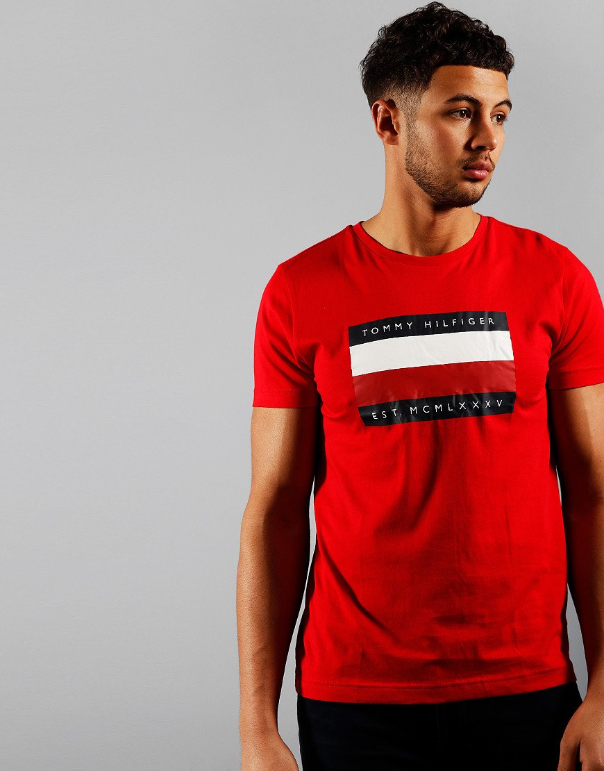 Tommy Hilfiger Corp Strip Box T-Shirt Primary Red
