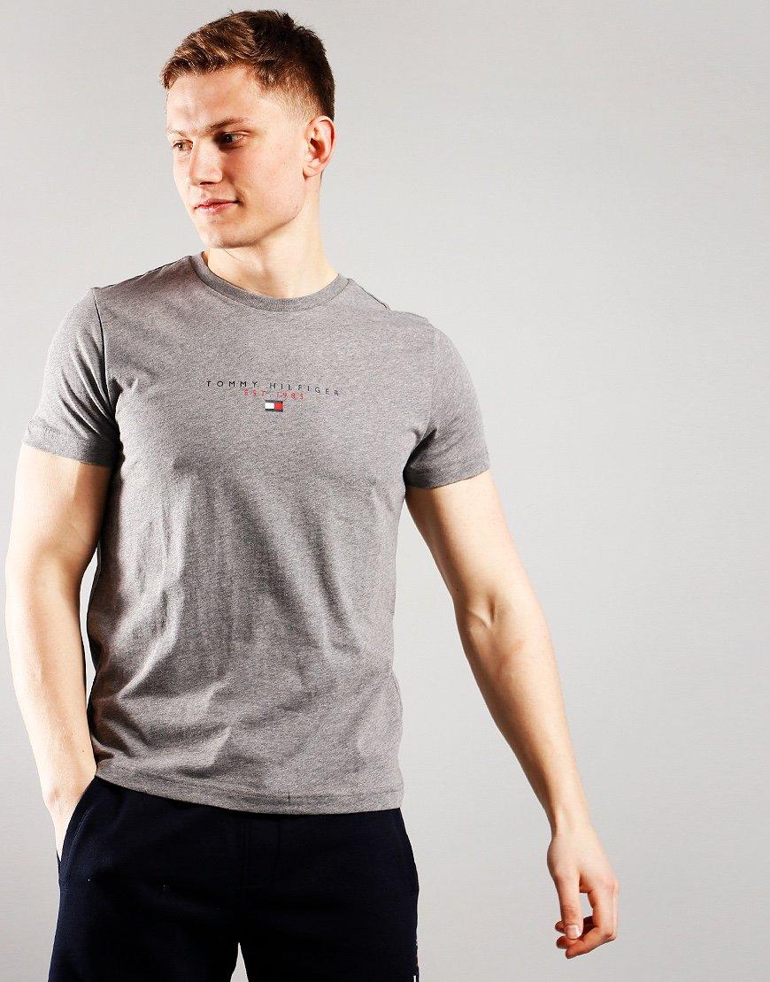 Tommy Hilfiger Essential Logo Print T-Shirt Medium Grey Heather
