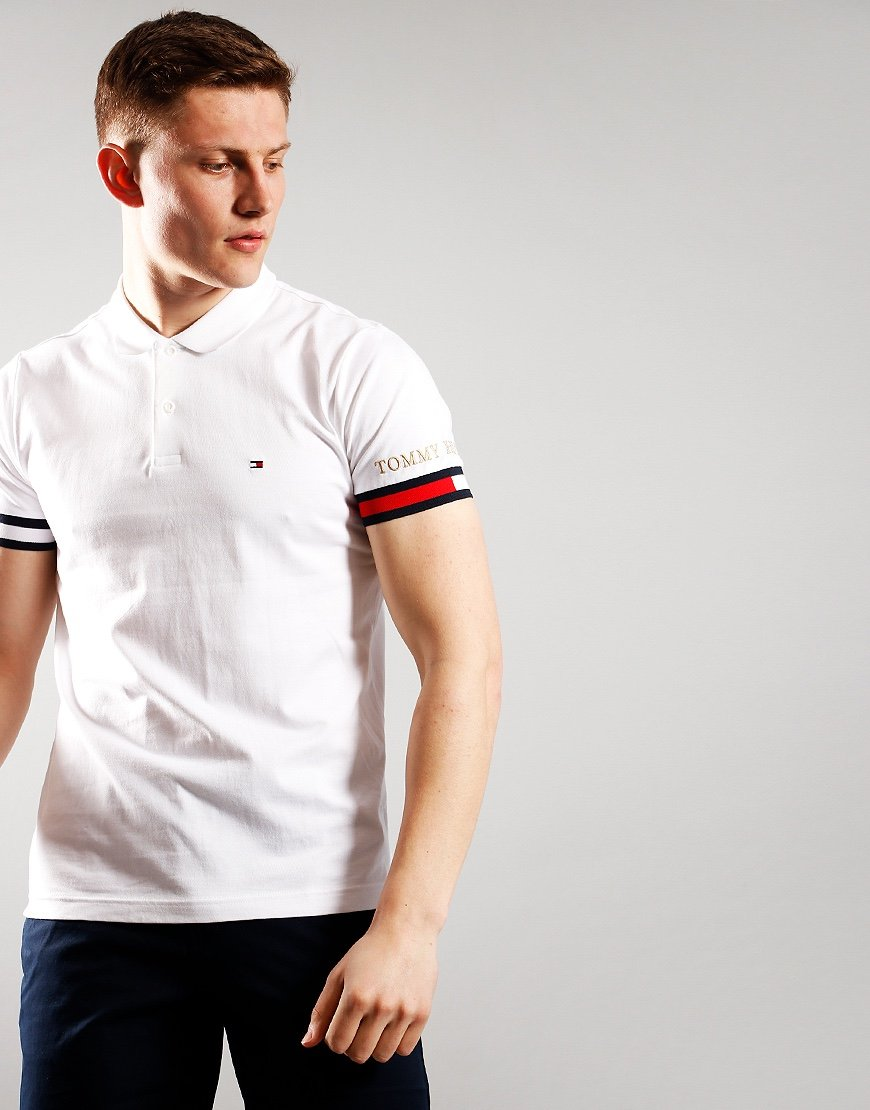 Tommy Hilfiger Logo Embroidery Cuff Polo Shirt White
