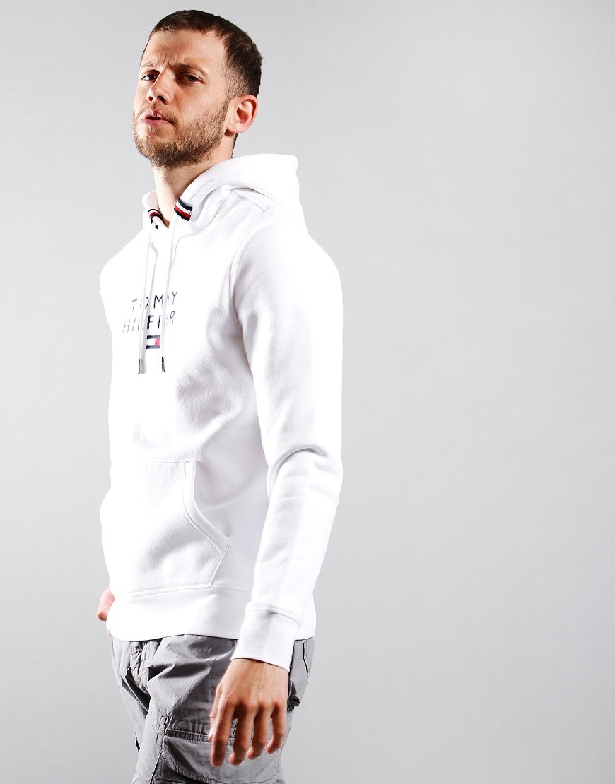 Tommy Hilfiger Flag Hooded Sweat White