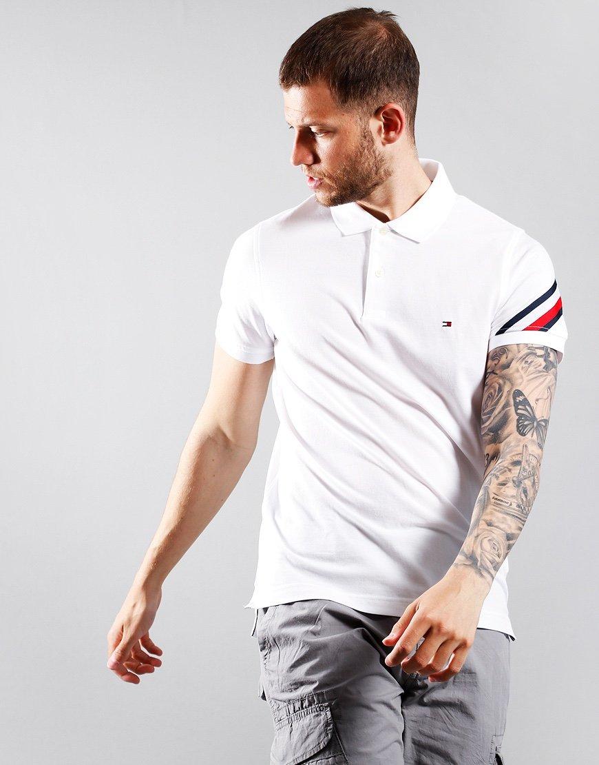 Tommy Hilfiger Global Stripe Tape Polo Shirt White