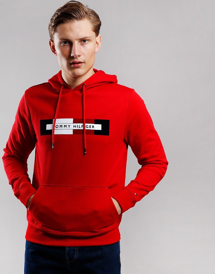 Tommy Hilfiger Logo Hooded Sweat Haute Red