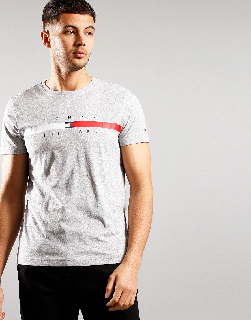 Tommy Hilfiger Stripe Chest T-Shirt Marl Grey Heather