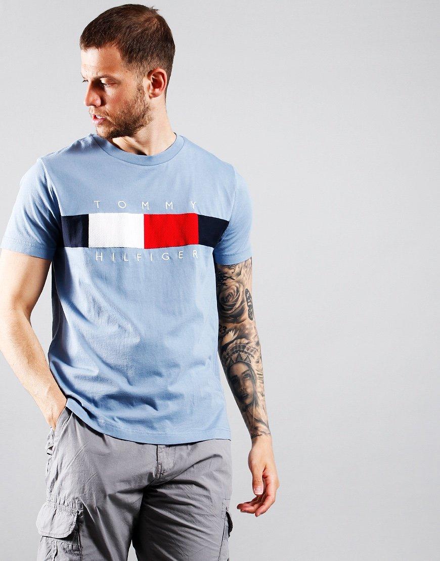 Tommy Hilfiger Texture Logo Insert T-Shirt Colorado Indigo