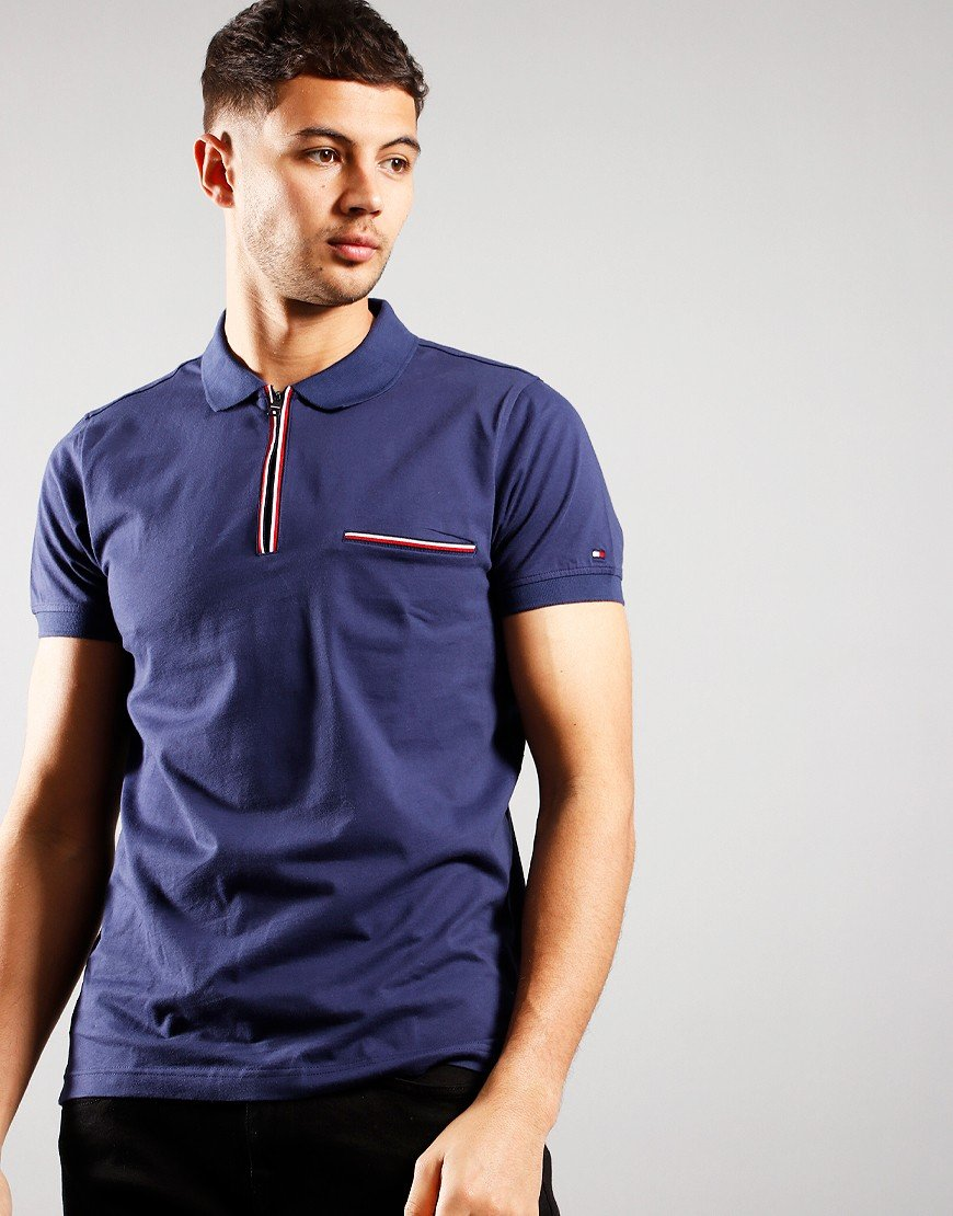 Tommy Hilfiger Tipped Zip Polo Shirt Yale Navy