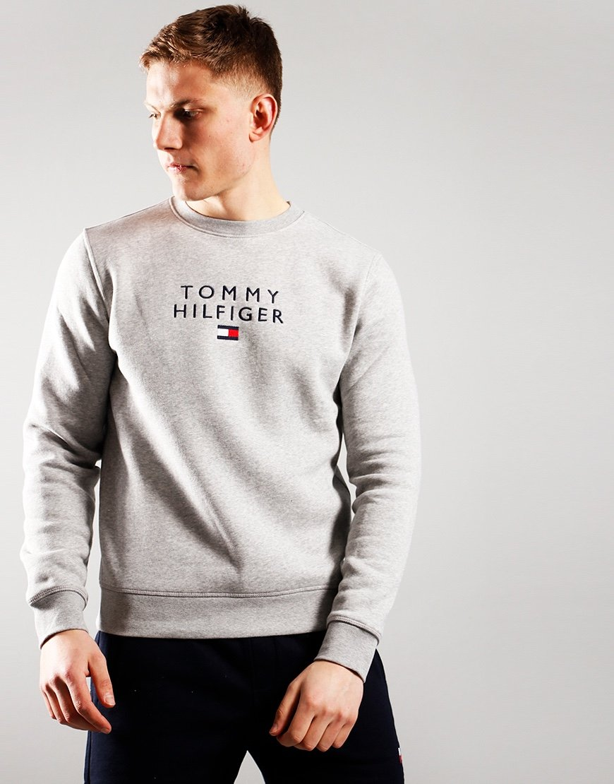 Tommy Hilfiger Flag Logo Crew Sweat Melange Grey Heather