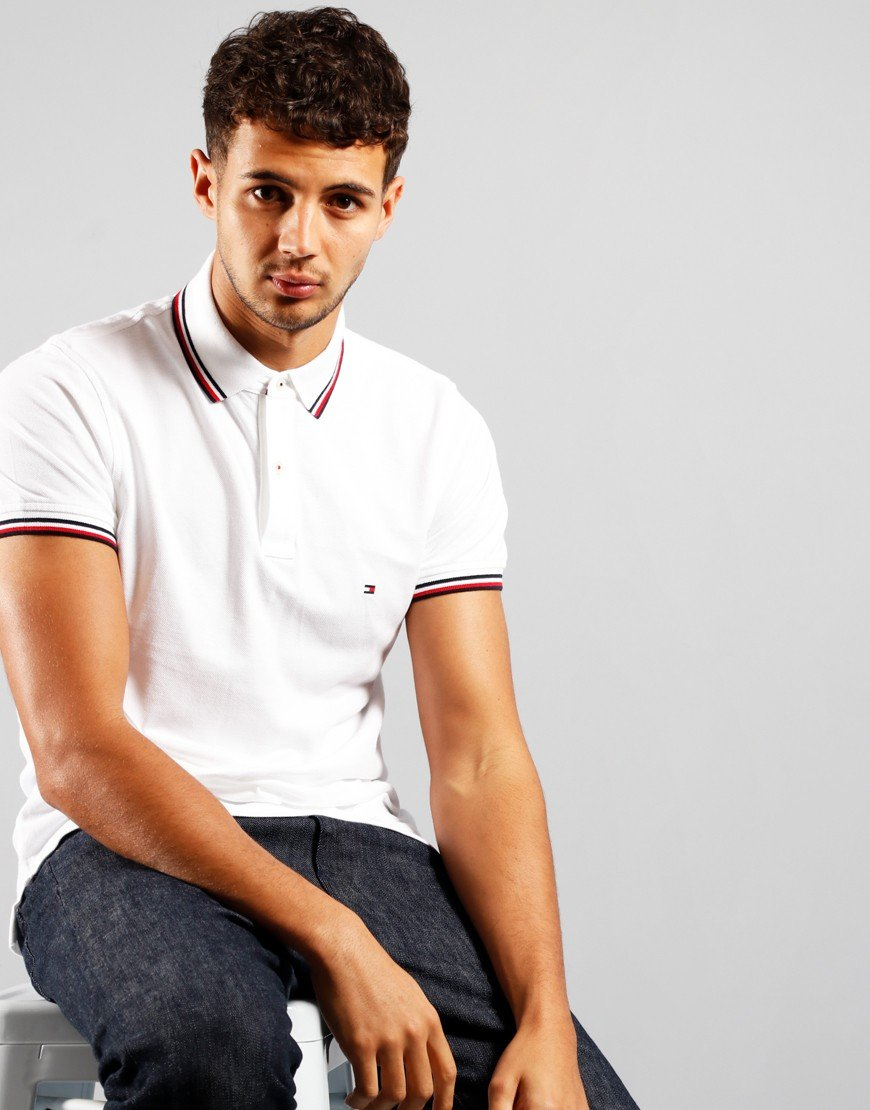Tommy Hilfiger Tommy Tipped Polo Shirt White