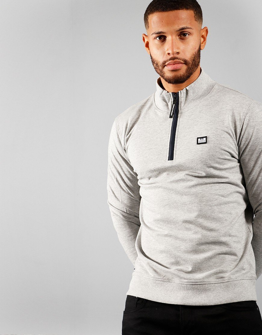 Weekend Offender Alberta Half Zip Sweat Grey