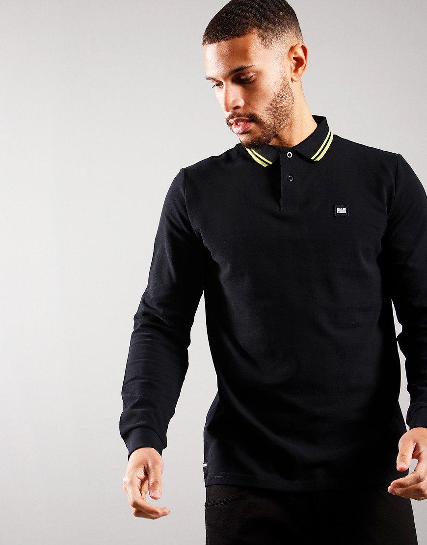 Weekend Offender Castles Long Sleeve Polo Shirt Black