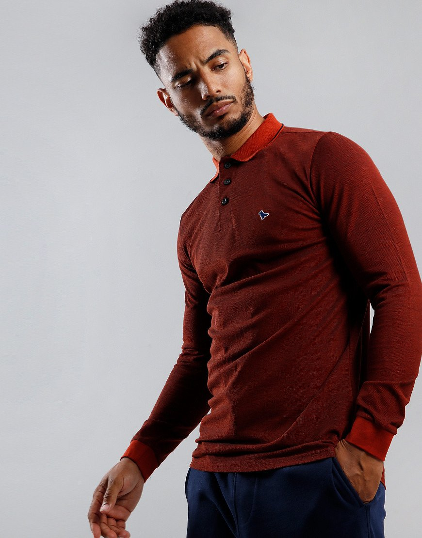 Weekend Offender Herrera Long Sleeve Polo Shirt Cinnamon