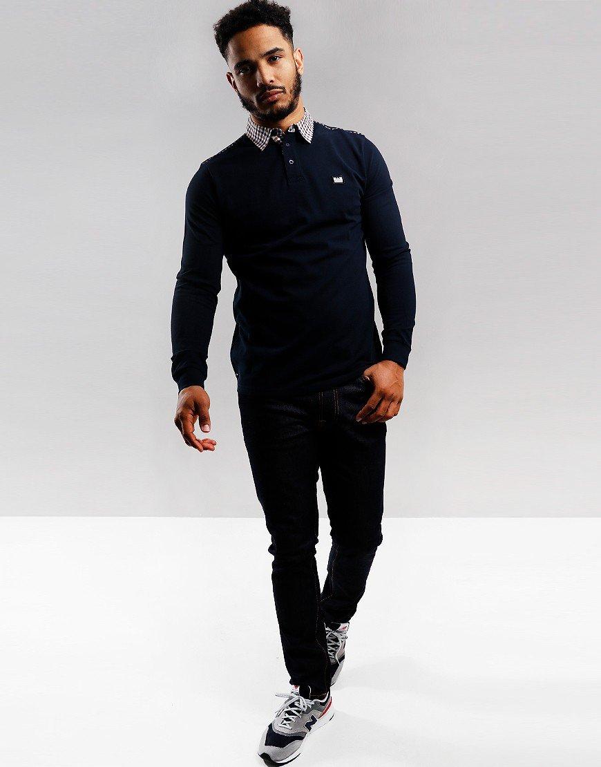 Weekend Offender Jasper Long Sleeve Polo Shirt Navy